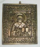 Икона, плакетка «Николай Чудотворец», бронза, 19 век №2178