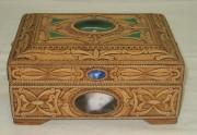 Шкатулка из бересты, натуральные камни, эксклюзивная работа №2235