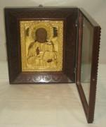 Икона старинная в киоте «Господь Вседержитель» позолота 19 век №928