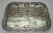 Поднос старинный медный, серебряный бордюр, «Fraget» Варшава 19 век №2412