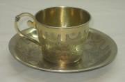 Кофейная пара из серебра 84 пробы, позолота, Россия 1867 год №2705