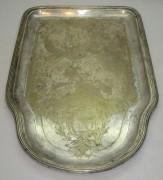 Поднос старинный под самовар, серебрение, «Fraget» Варшава 19 век №2725