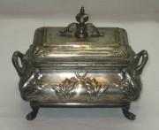 Шкатулка старинная, сахарница, серебрение, Варшава 19 век №2730