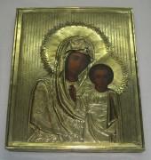 Икона старинная «Казанская Богоматерь», латунь, Россия 19 век №2734