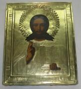 Икона старинная «Господь Вседержитель», оклад латунный, Россия 19 век №2736