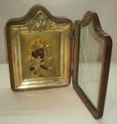 Икона старинная в киоте «Владимирская Богородица» Россия 19 век №2696