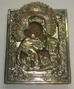 Икона старинная «Владимирская Богородица», серебрение, Россия 19 век №2744