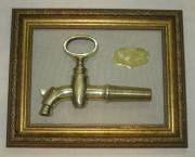 Картина, панно «Кран бочковой», с табличкой, старинный №2993