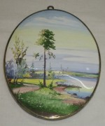 Панно «природа», плакетка старинная, финифть №3017