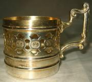 Подстаканник старинный, серебрение, Plewkiewicz Варшава 19 век №826