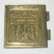 Плакетка старинная, икона, бронза, 19 век №3304