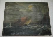 Картина старинная «Шторм», «Корабли» 19-20 век №