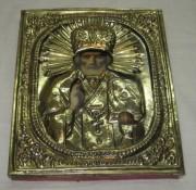 Икона старинная с окладом «Николай Чудотворец» 19 век №3519