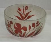 Конфетница старинная, вазочка, травление, многослойное стекло, модерн, 19 век №3329