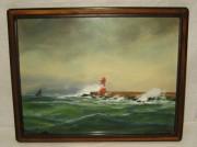 Картина старинная «Маяк», начало 20 века №661