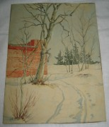 Картина «Зима», бумага, акварель №3601