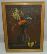 Картина «Цветы в вазе, бабочки» масло, «Т.Б.» 1993 год №3613