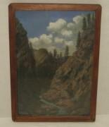 Картина старинная «Горная река», масло, 19-20 век №3616