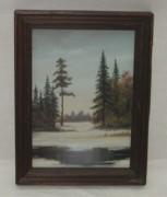 Картина «Зимний лес», масло, «Тенман Ю.Н.» 1991 год №3619