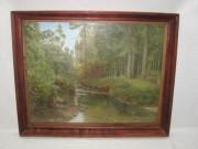 Картина старинная «Лесная река», масло, 19-20 век №3625
