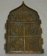 Плакетка старинная складень «Праздники» №3716