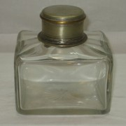 Чайница старинная с крышкой, стекло, серебрение №3722