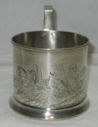 Подстаканник старинный «Тройка», серебро 84 пр, русский стиль, 19 век №3728
