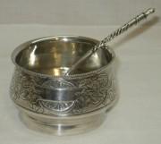 Солонка большая с ложкой, серебро 84 пр, русский стиль, Россия 19 век №3783