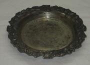 Тарелочка старинная, подставка, медь, серебряный бордюр, «Fraget» 1844 год №3810