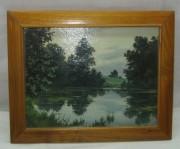 Картина, пейзаж «Озеро, лес», масло, 1990 год №3693