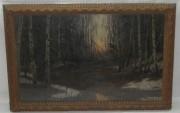 Картина старинная «Лес», холст, масло, «Бурхардт Ф.К» 19 век №248