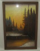 Картина «Домик в лесу», масло, холст, «Пинчугов» №3953
