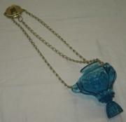 Лампада на цепях, лампадка старинная, стекло №3986