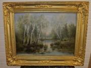 Картина старинная «Лесной пейзаж», масло, холст, 19 век, большая №3989