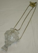 Лампада старинная на цепях, стекло, 19 век №3991