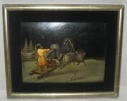 Картина, лаковая накладка, папье-маше, «Лукутин?» 19 век №4019