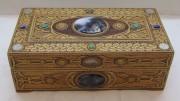 Шкатулка из бересты, натуральные камни, серебряные монеты 19 века №4131