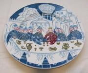 Тарелка авторская старинная, живопись, «Кочнева» 1966 год №4199