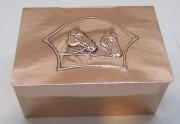 Коробка для сигар старинная «Лошади», медная №4237