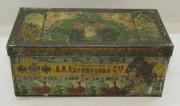 Коробка, шкатулка жестяная «Абрикосов» 19 век №4416