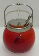 Сахарница с ложкой, красное стекло, СССР №4450