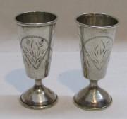 Рюмки парные старинные, серебро 84 пр, 19 век №4747