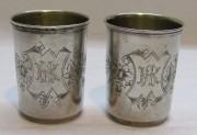 Стопки большие парные, серебро 84 пр, 19 век №4749