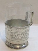 Подстаканник старинный со стаканом, серебро 84 пр, Россия 1898 год №4751