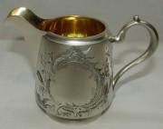 Сливочник старинный, серебро 84 пр, позолота, модерн №5340
