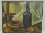 Картина натюрморт с бутылкой, акварель, 20 век №5317