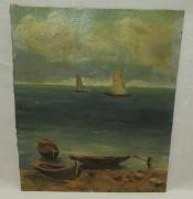 Картина старинная «Лодка. Море», 20 век №5640