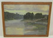 Картина старинная «Пейзаж. Река» холст, масло, 19-20 век №5456