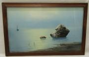 Картина старинная «Пейзаж. Море. Камень» холст, масло №5459