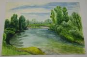 Картинка, рисунок, картина «Пейзаж. Река. Природа» акварель «Андреев Н.Ф.» №5387